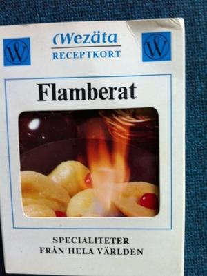 Flamberat - Wezäta receptkort i originalasken.